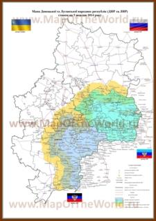 Карта территории Новороссии (ДНР и ЛНР)