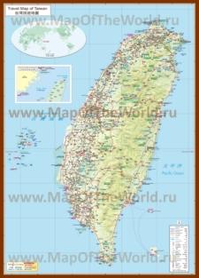 Подробная карта Тайваня