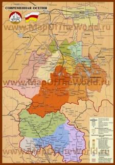 Подробная карта Южной и Северной Осетии