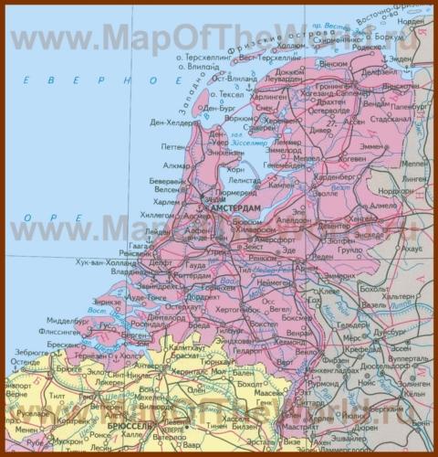 Карта нидерландов на русском языке