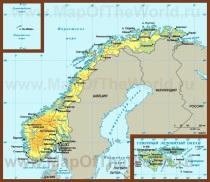 Физическая карта Норвегии с городами