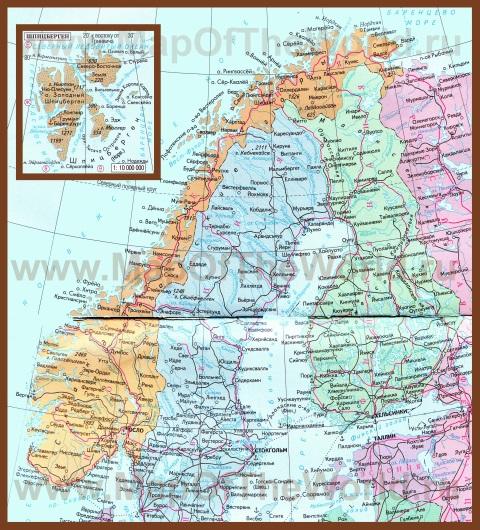 Подробная карта норвегии на русском
