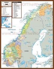 Политическая карта Норвегии