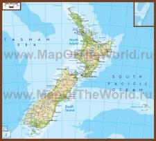 Физическая карта Новой Зеландии