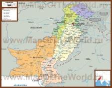 Подробная политическая карта Пакистана