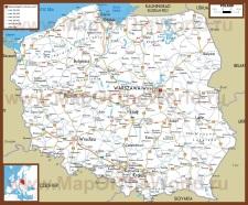Автомобильная карта дорог Польши
