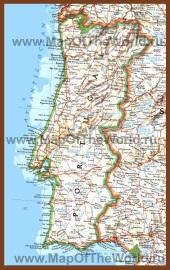 Подробная карта Португалии с городами