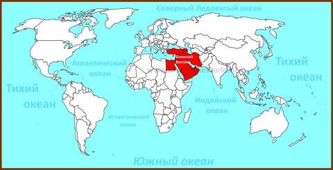 Ближний Восток на карте мира