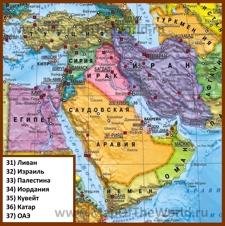 Политическая карта Ближнего Востока со странами