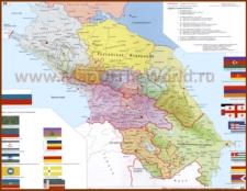 Политическая карта Кавказа с городами и республиками