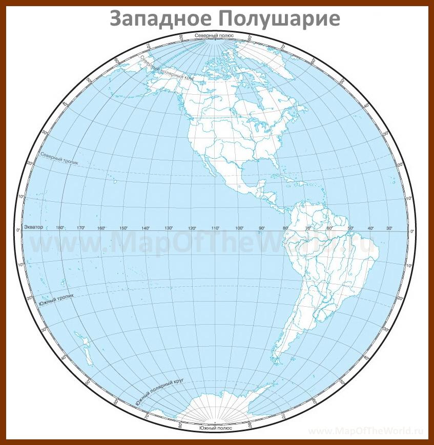 Контурная карта Западного Полушария Каспийское Море Карта