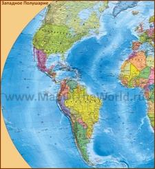 Политическая карта Западного Полушария со странами