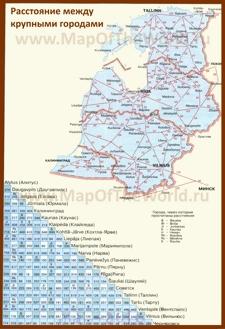 Карта Прибалтики с городами