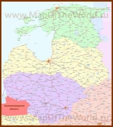 Подробная карта Прибалтики