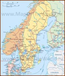 Карта железных дорог Скандинавии