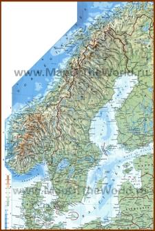 Подробная физическая карта Скандинавии