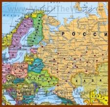 Политическая карта Восточной Европы с городами