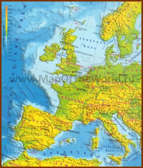 Физическая карта Западной Европы