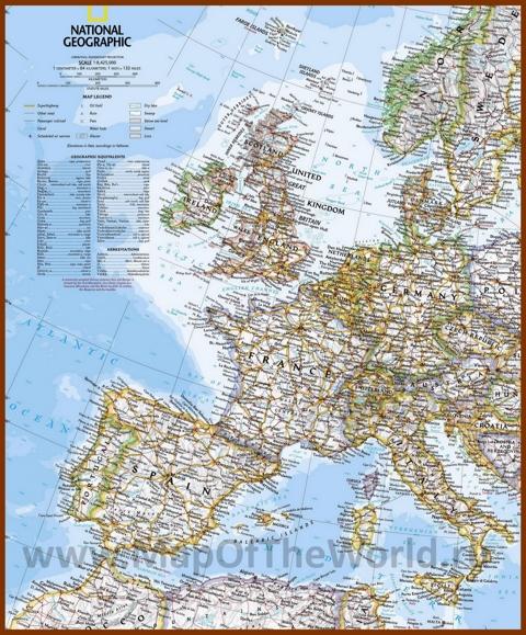 Карта городов Западной Европы