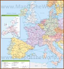 Карта железных дорог Западной Европы