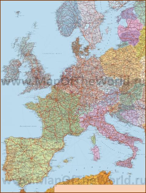 Подробная карта дорог Западной Европы с городами