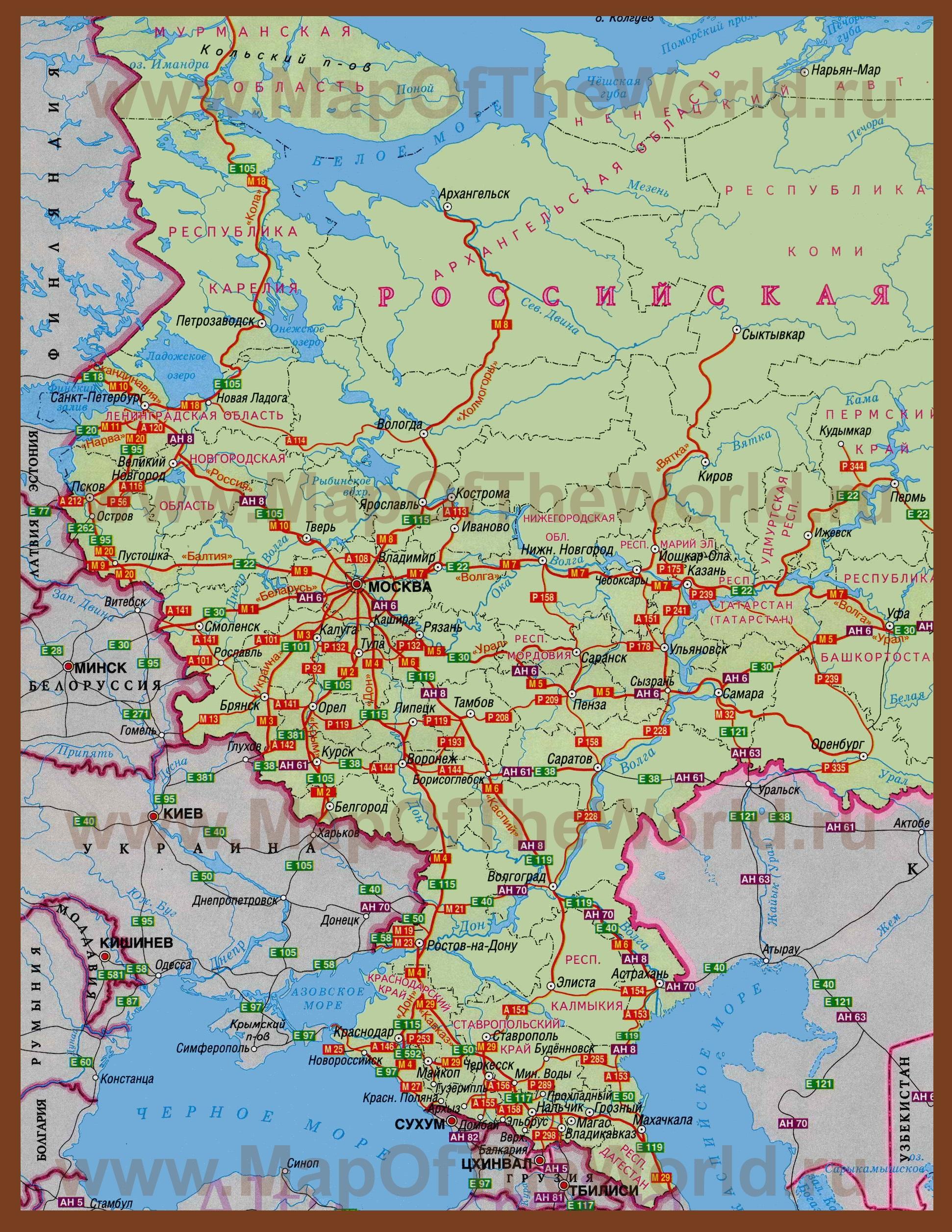 Схема европейская часть россии