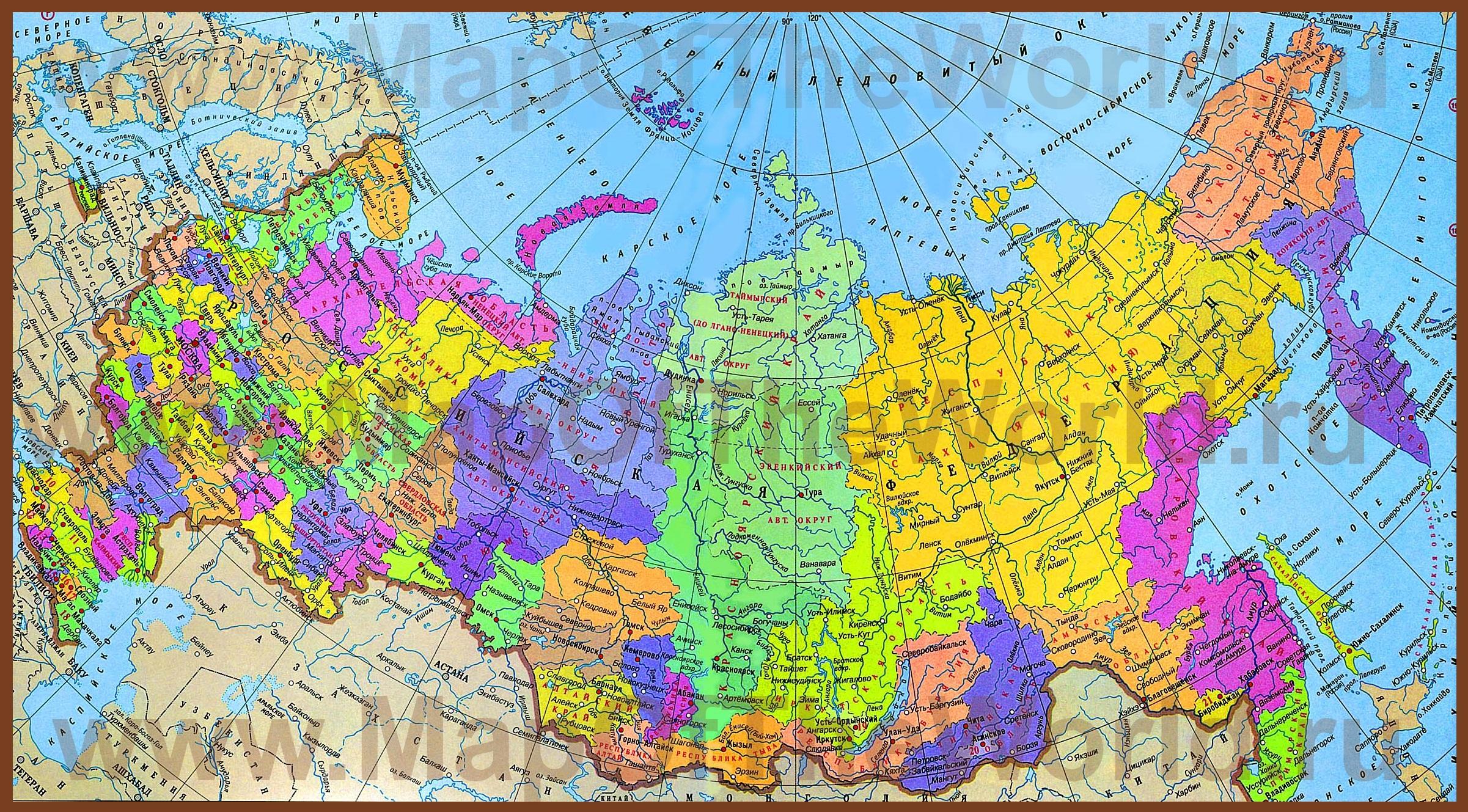 карта физическая россии фото
