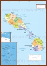 Подробная карта Сент-Китс и Невиса