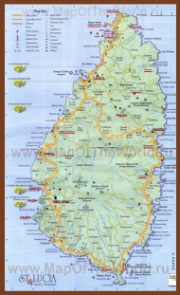 Подробная карта Сент-Люсии