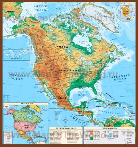 Физическая карта Северной Америки