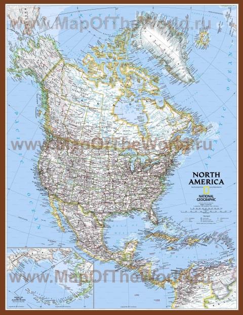 Подробная карта Северной Америки с городами