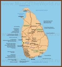 Карта Шри-Ланки с отелями