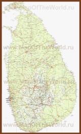 Подробная карта Шри-Ланки