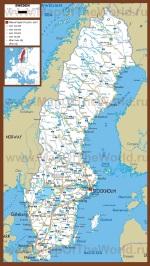 Автомобильная карта дорог Швеции