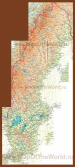 Подробная карта Швеции с городами