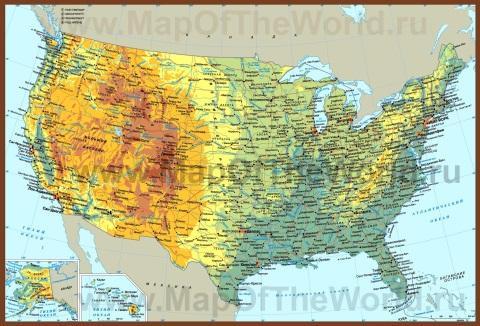 Карта США на русском языке