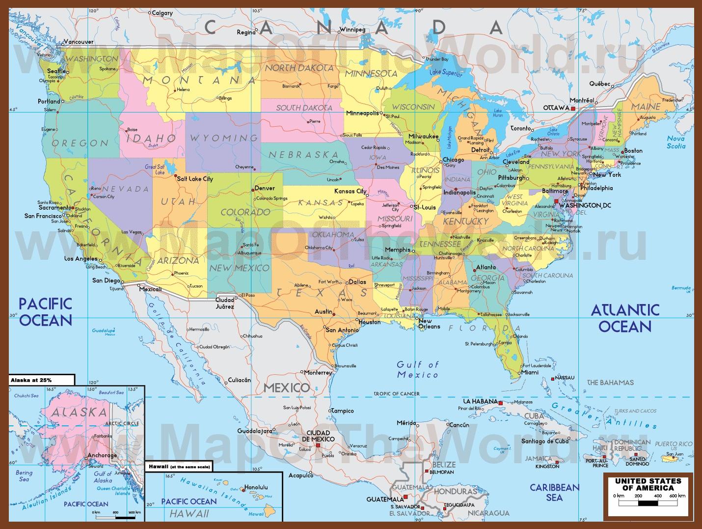 Карты США. Подробная карта США на русском. Карты ...