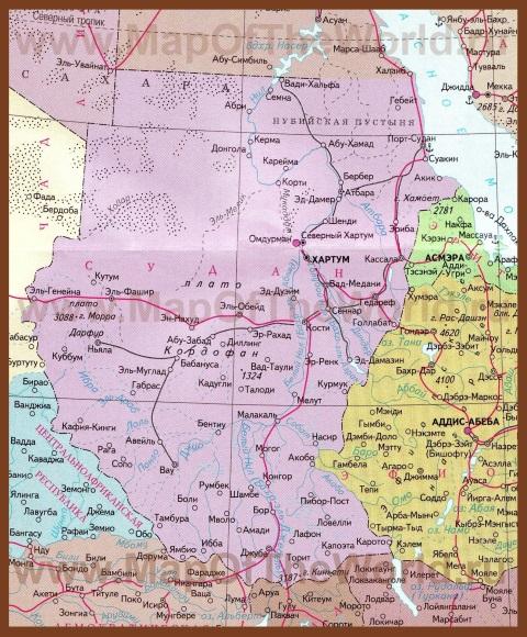Карта судана на русском языке