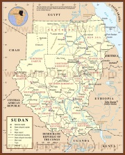Подробная карта Судана
