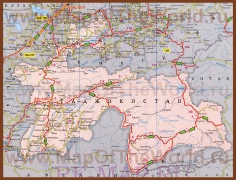 Подробная карта таджикистана