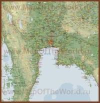 Подробная карта центральной части Таиланда
