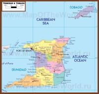 Подробная карта Тринидад и Тобаго