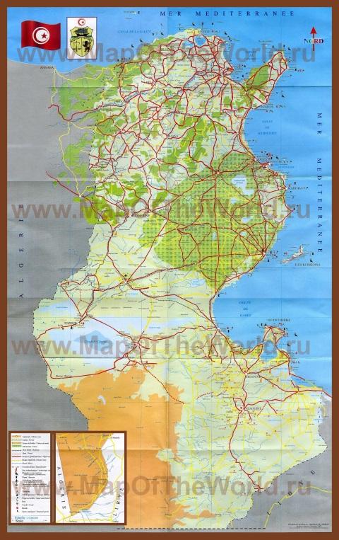 Подробная карта туниса с городами