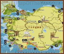 Карта побережья Турции с курортами