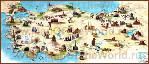 Туристическая карта Турции с достопримечательностями