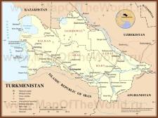 Подробная карта Туркмении