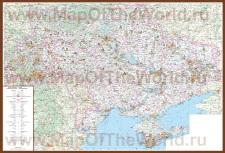 Туристическая карта Украины с достопримечательностями и отелями
