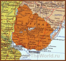 Карта Уругвая на русском языке