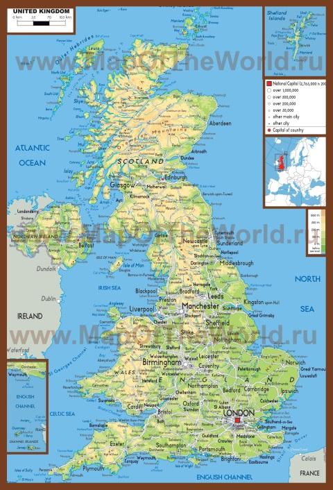 Физическая карта Великобритании на английском языке