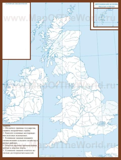 Контурная карта Великобритании